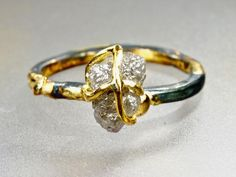 Big Raw Diamond Engagement Ring Wedding Ring