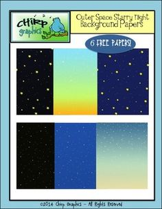 FREE Starry Night Background Papers Clip Art Set - Chirp Graphics