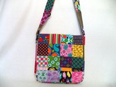 Patchwork prints corduroy messenger bag by Boho Rain by BohoRain