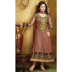 Rashami Desai Net Machine & Zari Work Brown Semi Stitched Long Anarkali Suit - 4009