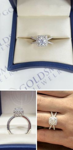 Stunning Engagement Ring with Split Bands and Halo