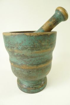 Wooden Mortar and Pestle with Original Paint