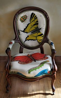 Butterfly Chair with Victorian Frame and South African Prints. http://noelschairs.tumblr.com/
