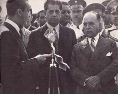 Juscelino Kubitschek discursando para Benedito Valadares e Getúlio Vargas, durante a inauguração da Avenida do Contorno (Belo Horizonte), em 12 de maio de 1940.