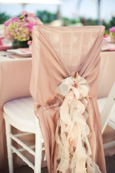 A Pinterest Favorite: Curly Willow Ruffle Tie in Blush with Celine Chair Sleeve Pictilio Photography & Simple Little Details Events