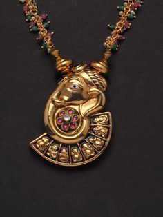 Ganesh design necklace set-http://www.indianmyra.com/products/Ganesh-design-necklace-set.html#