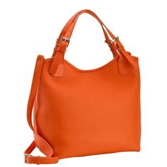 Tangerine Olivia Shopper | Pebble Grain Leather | GiGi New York