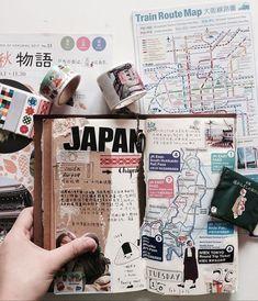 Japan travel journaling from scrapbook journal Travel Journal Scrapbook, Bullet Journal Travel, Travel Journal Pages, Bullet Journal Inspiration, Travel Journals, Bullet Journal Japan, Scrapbook Kit, Journal Ideas, Scrapbook Quotes