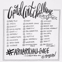 April Art Challenge (a 30 day drawing challenge hosted by artist Roxanne Coble, aka BY BUN)