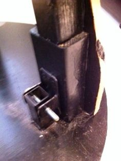 This is a closeup the metal base and attachment piece we had made by a welder. We used a large nail as a pin to secure it. When the pin is removed, the cutout can be taken off the base and stored. Jewelry Display Stands, Jewellery Display, Plywood, Base, Metal, Hardwood Plywood, Metals, Wood Veneer