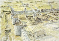 Anglo-saxon settlement in former Roman fort. Artist impression