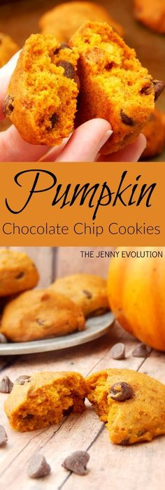 Pumpkin Chocolate Chip Cookies Recipe on The Jenny Evolution Chip Cookie Recipe, Cookie Recipes, Dessert Recipes, Pumkin Cookies Recipes, Baking Cookies, Mini Desserts, Delicious Desserts, Holiday Desserts, Homemade Chocolate