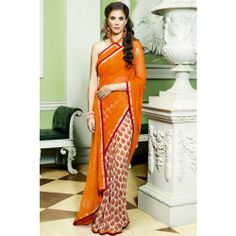 Online Shopping for Pumpkin Orange and Off-white Chiffo | Chiffon Sarees | Unique Indian Products by Senorita Creations Private Limited - MSENO87259797660