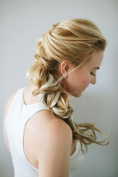 Romantic over the shoulder hair twist