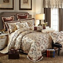 Luxury noble silk satin cotton jacquard bedding collection floral print linens Queen/King size bedding sets bedspreads(China (Mainland))