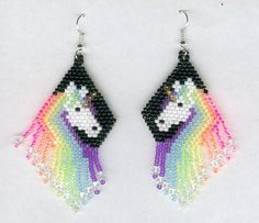 Hand Beaded Unicorn Earrings in Black and Ultraviolet by FoxyMomma, $30.00