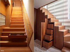 Szafki w schodach.