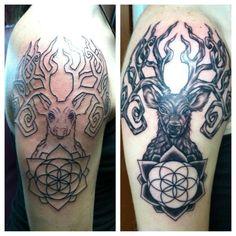 Sacred Geometry Tattoos   Sacred Geometry Deer Head Tattoo