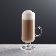 Suitable for hot tea and cocoa or cold coffee and juices, this slender mug is particularly suited to serving whipped cream-topped Irish Coffee. Made of tempered glass updated with modern, straight-sided lines, our Irish Coffee mug is elevated on a gracefu Crate And Barrel, Irish Coffee Mugs, Irish Coffee Glasses, Turkish Coffee, Best Pumpkin, Cream Tops, How To Do Yoga, Crates, Tea Cups