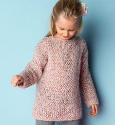 knitted pull for girls - Modèle tunique Fille - Modèles Enfant - Phildar