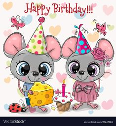 Two Cute Mouses and ladybug with balloon and bonnets. Birthday card with Two Cute Mouses and ladybug with balloon and bonnets stock illustration Happy Birthday Kind, Happy Birthday Images, Happy Birthday Greetings, Birthday Pictures, Clipart Baby, Birthday Clipart, Kids Cartoon Characters, Animal Cutouts, Rick E