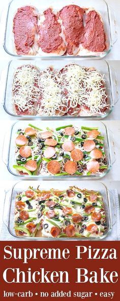 Baked chicken recipes - Supreme Pizza Chicken Bake Recipe Low Carb The Schmidty Wife No Calorie Foods, Low Calorie Recipes, Diet Recipes, Cooking Recipes, Healthy Recipes, Cooking Tips, Recipies, Tasty Recipes For Dinner, Healthy Supper Ideas