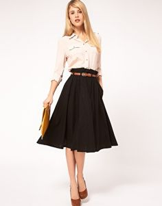 """ASOS Linen Midi Skirt With Belt    I've learned to search for the word """"midi""""...I also really like this skirt in the deep pink color."""