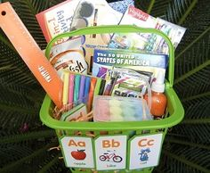 School Is Cool Easter Basket - This School Is Cool Easter Basket can be customized for students of all ages. Using an everyday plastic basket, fill it with your student's favorite school supplies. Ideas include: notebook, activity books, crayons, watercolor paints, USA puzzle, calculator, glitter glue, markers, pencils, sidewalk chalk and Goldfish crackers.