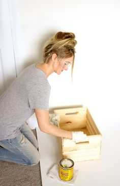 DIY Wooden Crate Shelf | Haute & Healthy Living Wooden Crates Nightstand, Wood Crate Shelves, Diy Wooden Crate, Wooden Crafts, Urban Barn, Pottery Barn, Old Crates, Wine Crates, Ladder Shelf Diy