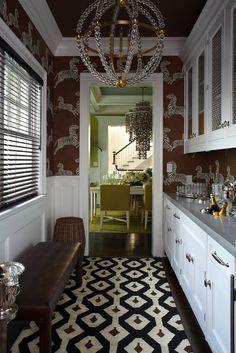 hallway, scalamandre zebra wallpaper, patterned floor, butler's pantry, palette overall Zebra Wallpaper, Accent Wallpaper, Dark Wallpaper, Wallpaper Ideas, Kitchen Butlers Pantry, Butler Pantry, Hamptons House, The Hamptons, Pantry Design