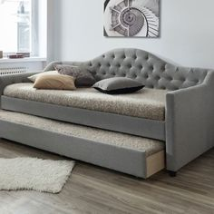 Grey York Single Day Bed Frame with Trundle by VIC Furniture. Get it now or find more Beds at Temple & Webster.