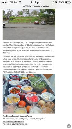 The Dining Room at Gourmet Farms Kilometer 52, Aguinaldo Highway, Lalaan 2, Silang Cavite Dining Room, Salad Bar, Growing Vegetables, Farms, Canning, Home Canning, The Farm, Dining Room Sets, Planting Vegetables