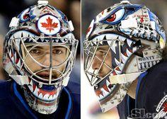 Al Montoya - Winnipeg Jets mask Goalie Gear, Hockey Helmet, Goalie Mask, Football Helmets, Jets Hockey, Nhl Hockey Jerseys, Ice Hockey, Helmet Design, Mask Design