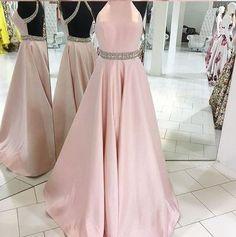A-line Pink Satin Prom Dress,Open Back Elegant Formal Dresses,Senior 2017 Long Prom Dress,2145