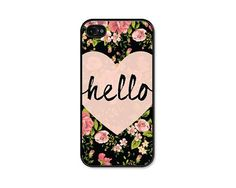 iPhone 5 Case - Hello Black and Peach Floral Phone Case - Floral ...