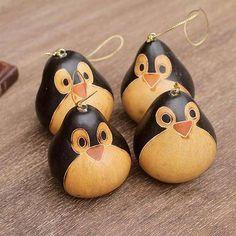 Unique Mate Gourd Penguin Christmas Ornaments (Set of 4)