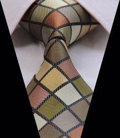 Green Brown Check 3.4'' 100%Silk Classic Woven Men's Tie