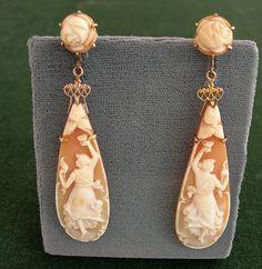 Shell cameo earrings c1900