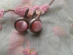 Antique French 1900s Pink Moonstones Earrings - Silver Plated on Brass Earrings -Baby Pink Retro Earrings