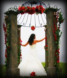 Gorgeous red floral wedding canopy /trellis/ arbor - Rustic and Romantic! Wedding Arbors, Wedding Canopy, Miami Orlando, The Power Of Love, Photography Props, Wedding Bells, Blue Flowers, Floral Wedding