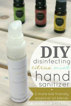 DIY Disinfecting Citrus Mint Hand Sanitizer + 2 More Kid-Friendly Essential Oil Blends   GrowingUpHerbal.com