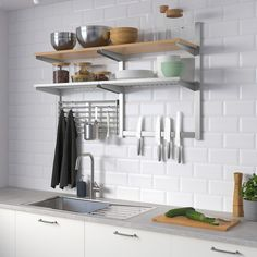 KUNGSFORS Wall storage with grid + knife rack, stainless steel, ash veneer. Just like in a restaurant kitchen, we've focused on durable materials and smart wall storage. Kitchen Wall Storage, Kitchen Decor, Kitchen Ideas, Ikea Kitchen Shelves, Kitchen Racks, Kitchen Layout, Kitchen Cabinets, Kitchen Cupboard, Cheap Kitchen