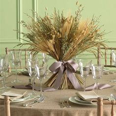 Rustic Wedding Ideas - From Martha Stewart Weddings - Grains such as wheat and dried grasses, found at craft stores, make for a stylish fall centerpiece for any table or event this fall Wheat Centerpieces, Non Floral Centerpieces, Unique Wedding Centerpieces, Wedding Decorations, Centerpiece Ideas, Grass Centerpiece, Autumn Centerpieces, Halloween Decorations, Graduation Centerpiece