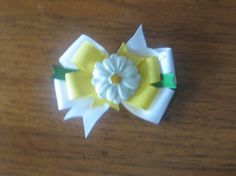 White and Yellow 3 Inch Daisy Pinwheel Style Hairbow by EmzBowz, $4.50