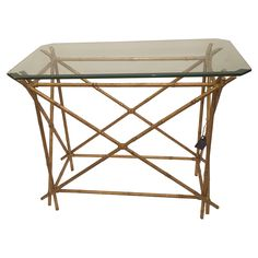 Antique Gold Painted Bamboo Occasional Table on Chairish.com