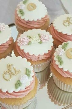 Don't miss this sweet baby shower! The cupcakes are so pretty! See more party ideas and share yours at CatchMyParty.com #catchmyparty #partyideas #babyshower #babyshowercupcakes #girlbabyshower