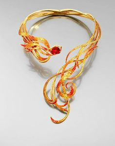 Phoenix Necklace by Lorenz Baumer...yellow gold set with sapphires weighing 7.93 cts., photo by Artcurial.