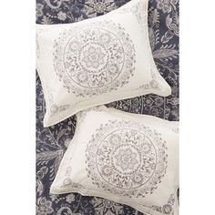Louise Femme Medallion Sham Set (50 CAD) ❤ liked on Polyvore featuring home, bed & bath, bedding, bed accessories, medallion sham, white cotton bedding, cotton pillow shams, bohemian bedding and medallion bedding