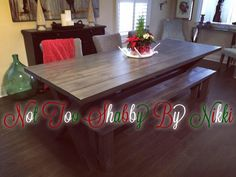 Custom design and hand made solid pine 8' harvest table. 4x4 custom crossed legs with custom finish.made by Nikki @ Not Too Shabby by Nikki