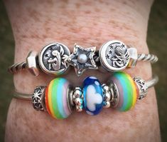 Always a silver lining ⭐️ #redbalifrog #trollbeads #rainbows #clouds #stars #beads #jewelry #moon